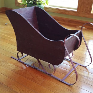 3day sale sleigh winter decoration newborn prop photo prop vintage christmas decoration large wooden sleigh santa