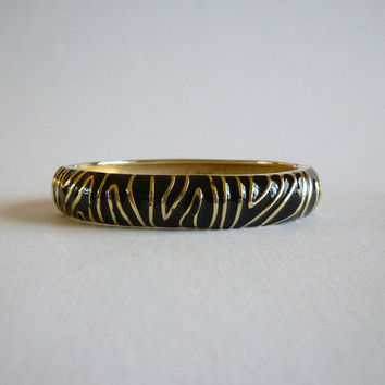 Black Enamel Bracelet, Gold Tone Black Zebra Oval Bangle Bracelet