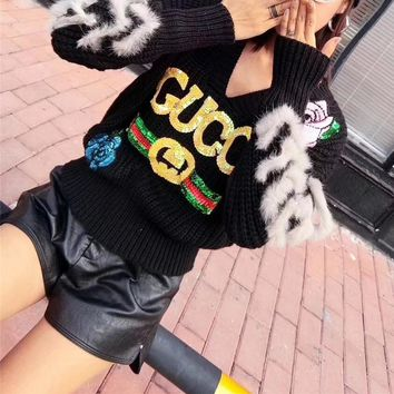 """""""Gucci"""" Women Fashion Sequin Flower Letter Embroidery V-Neck Long Sleeve Knitwear Sweater Tops"""