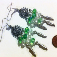 Dreams in Green Beaded Chandelier Earrings, green beaded earrings, sparkling chandelier earrings, feather charms, dream catchers, gift ideas