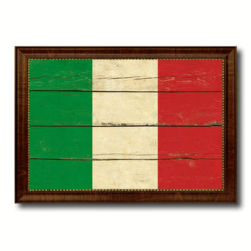 Italy Country Flag Vintage Canvas Print with Brown Picture Frame Home Decor Gifts Wall Art Decoration Artwork