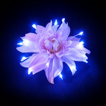 Pink Light Up Hair Flower (Small)