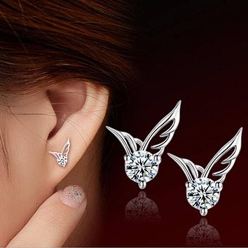 Sterling Silver Angel Wings Crystal Ear Stud Earrings