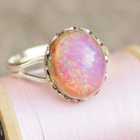 Vintage Fire Opal Ring,Silver Adjustable Band,Vintage Glass Harleuqin Opal,Pink Opal,Opal Ring,Opal Jewelry,Birthstone,Shabby Chic