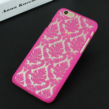 Red Rose Luxury Hard Plastic Damask Vintage Flower Pattern Back Case Cover for iPhone 4 4s 5 5s SE 6 6s 6 Plus 6s Plus 7 & 7 Plus