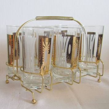 Vintage Caddy Gold and white  Glasses Highball Tumblers  Barware Set of 6  Mid Century  Starburst DESIGN