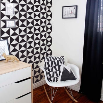 Black and White Geometric Removable Wallpaper - Peel & Stick, Repositionable Fabric