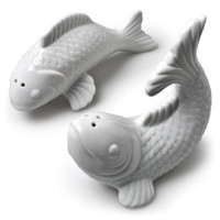 "1 X 4"" White Porcelain Jumping Japanese Gold Fish Koi Salt and Pepper Shakers Set"