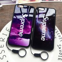 Fashion Supreme Mirror Luxury Plating Phone Case for iPhone 6 6s 6plus 6splus 7 7plus Luxury Cases Cover Coque With Lanyard