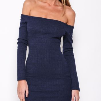 Blue Off Shouder Long Sleeves Knitted Bodycon Dress