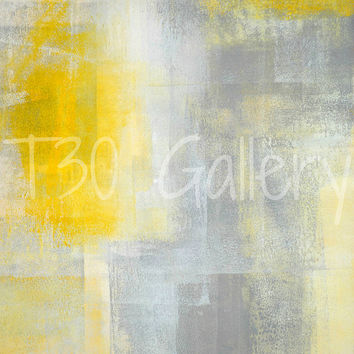 Silence, 2013 - Modern Contemporary Abstract Artwork Canvas Poster Wall Decorative Free Shipping Grey Yellow White 11x14 12x18 16x20