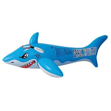"71"" Blue and White Shark Rider Inflatable Swimming Pool Float Toy with Handles"