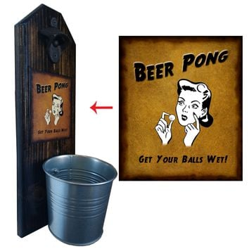 Beer Pong Bottle Opener and Cap Catcher, Wall Mounted