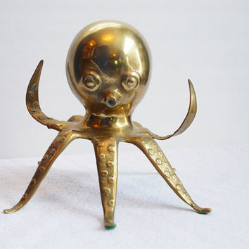 Vintage Brass Octopus Bank, Steampunk Home Decor