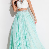 Long Lace A-Line Two Piece Prom Dress by Rachel Allan