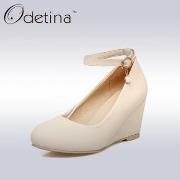 Odetina Ladies Mary Jane Wedge Pumps Platform High Heels Wedding Shoes for Bride Ankle Strap Office Women Dress Shoes Plus Size