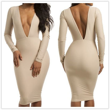 Sexy Bodycon Plunging Neckline Long Sleeve Backless Women's Dress = 1841495428