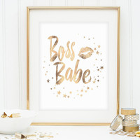 "Gold Foil Printable, Printable Women Gift, ""Boss Babe"", Gold Foil Wall Art, Printable Word Art, Gold Foil Print, Gift Idea, Instant Download"