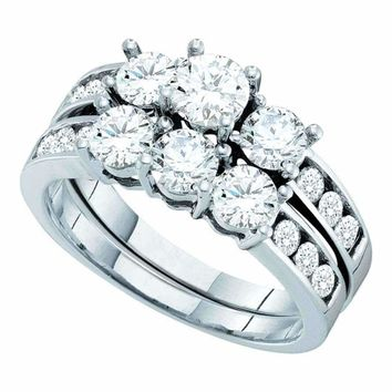 14kt White Gold Women's Round Diamond 3-Stone Bridal Wedding Engagement Ring Band Set 2.00 Cttw - FREE Shipping (US/CAN)