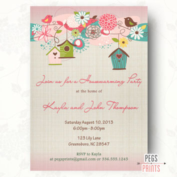 Printable Housewarming Party Invitation - Bird Housewarming Invitation Printable