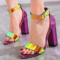 New sexy dazzle cool thick heel a word buckle belt high heel sandals