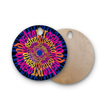 "Roberlan ""Ad Astra Per Aspera Mandala"" Blue Orange Round Wooden Cutting Board"