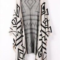 Geometry Graphic Batwing Cardigan (Apricot) from OASAP-USA