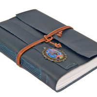 Large Black Faux Leather Wrap Journal with Cameo Bookmark  - Ready To Ship