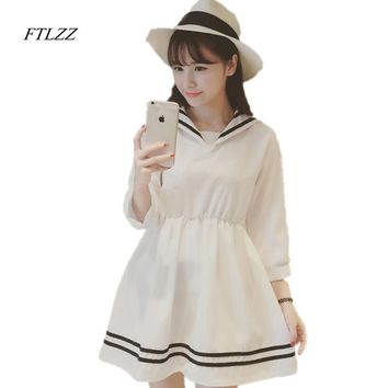 School wear HARAJUKU sailor collar summer sailor suit chiffon one-piece dress female preppy style fresh short dress