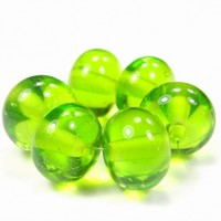 Transparent Medium Grass Green Handmade Lampwork Glass Beads 022 Shiny (Choices of Etched, .999 Fine Silver, Shapes, Sizes, Large Hole Beads Extra)