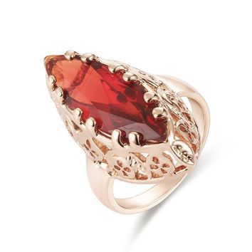 Rose Gold Big Ruby Red Stone Coktail Ring