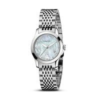 Gucci G-Timeless Stainless Steel Watch with Mother-of-Pearl and Diamonds, 27 mm