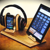 "The ""Sound Stand Deluxe"" custom combo docking stand for headphones plus iPhone, iPod, iPad and iPad mini or Android tablets"