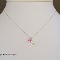 Breast Cancer Awareness Ribbon Necklace Sterling Silver Ribbon Charm Pink Crystal Necklace Charity Donation Gift Awareness Remembrance