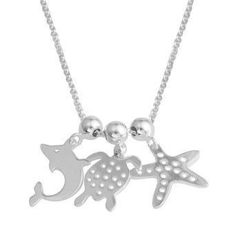 Sterling Silver Necklace with Adjustable Charms Turtle Dolphin Starfish