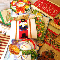 15 Cute Holiday Gift Card Tags for Christmas - red white green - recycled and repurposed materials - nutcracker - santa - tree - merry