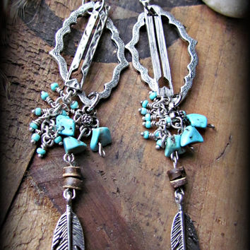 Silver GYPSY Boho ARROW Turquoise Long Dangle Earrings~Artisan Silver Earrings~Beaded Unique Hippie Earrings~Women's Jewelry~Mdogstudios~