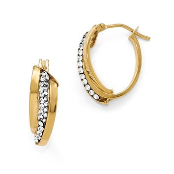 Oval Hoop Earrings in 14k Yellow Gold with Swarovski Crystals, 18mm