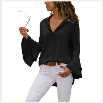 STYLEDOME Women Blouses 2018 New Autumn Slim Fit Solid Single-Breasted Blouses Lady Fashion Casual Turn Down Collar Butterfly Sleeve Shirt