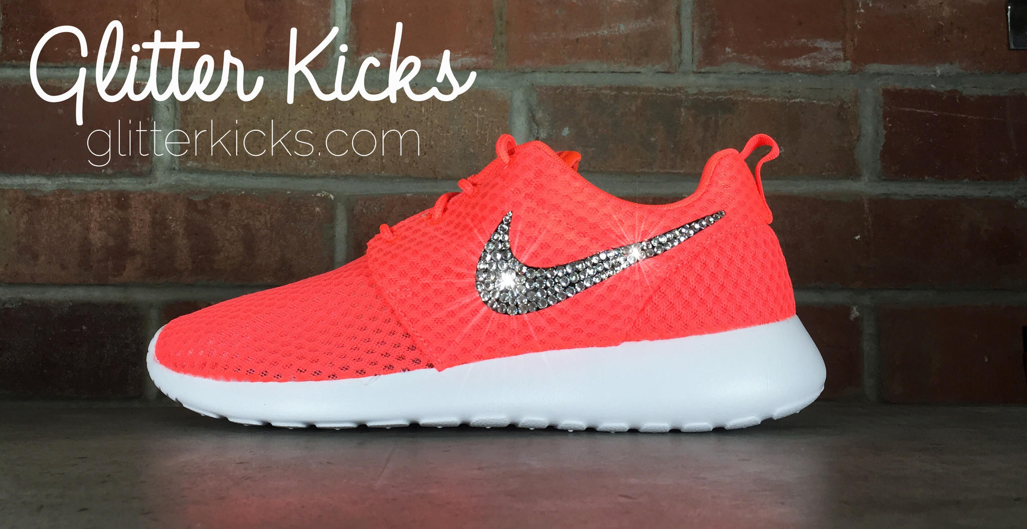 Nike Roshe One Customized by Glitter Kicks - Orange White 383f842e2