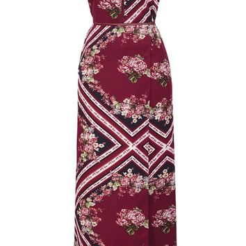 Bohemian Vintage Floral Ethnic Style Backless Maxi Dresses Geometric Pattern Dark Red