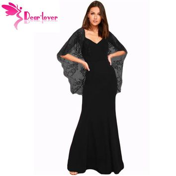 Dear Lover Long Dress 2017 Elegant Black/Red Party Gowns V Cut Open Back Lace Cape Sleeve Maxi Dress Vestido Longo Festa LC61789