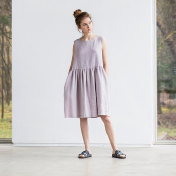 Loose linen sleeveless summer dress in ashes of rose / Washed linen dress