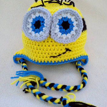 9 - 12 mos Boys Minion Crochet Crocheted Hat - Baby Toddler - 9 months - Handmade by The Hippie Patch