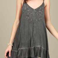 Floral embroidery tunic top with ruffle in Charcoal Gray by POL