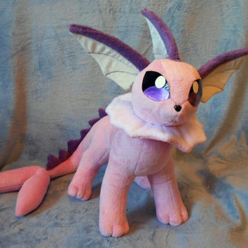 Pokemon inspired shiny Showers Vaporeon Eeveelution plush (48x78 cm) plushie made of minky and velour, very cuddly!