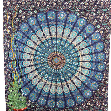 tapestry mandala wall hanging bed spread bed sheet yoga sheet ,indian tapestry table cover curtains screen printed tapestry heippy heippi