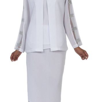 Hosanna 5071 Plus Size 3 Piece Set Off White Tea Length Dress