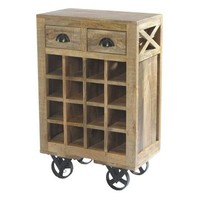 Homelegance 2-Drawers Wine Cart With Rack In Antique Wood