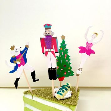 72pcs Lovely Nutcracker Mouse Soldier Prince Ballet girl Cupcake Toppers Pick For Kids Birthday Party Supplies